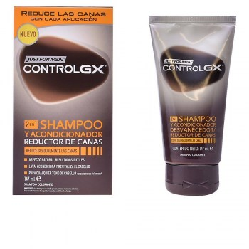 control gx champu y acondicionador reductor de canas just for men 147ml
